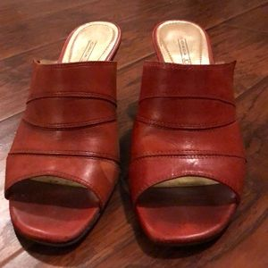 Circa Joan & David Rusty Red Leather Sandals